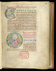 Decorated Initials, In A Commentary On The Rule Of St. Benedict f.3r